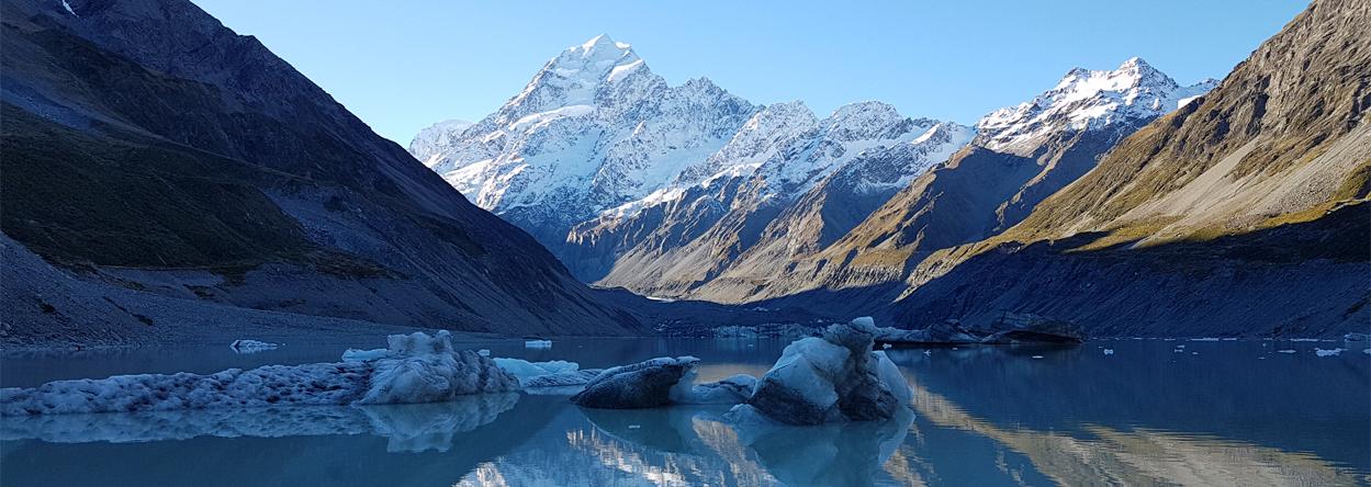 Bild vom Gletschersee im Mount Cook Nationalpark