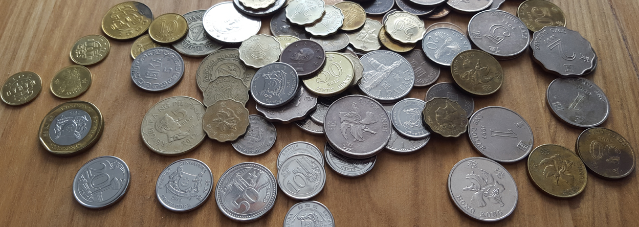 Bild von verschiedenen ausländischen Münzen