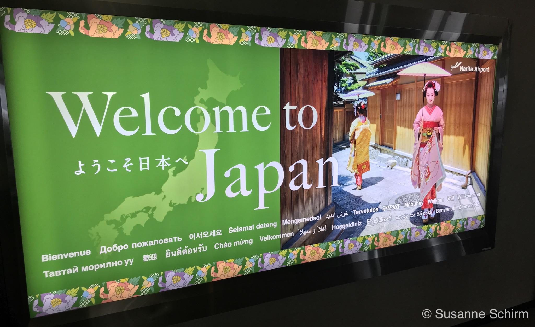 Willkommensgruß am Narita Airport