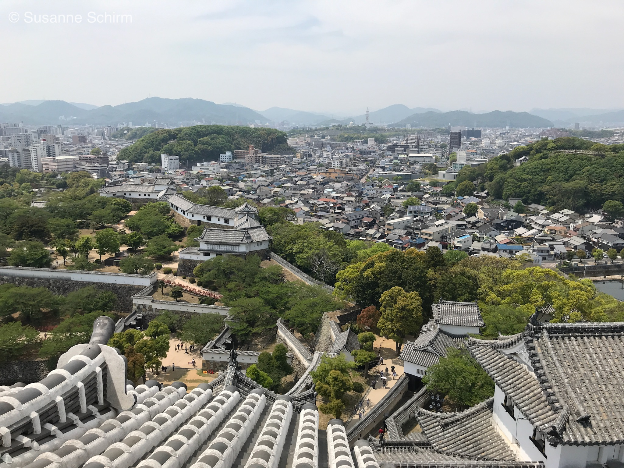 Blick von der Burg über Himeji