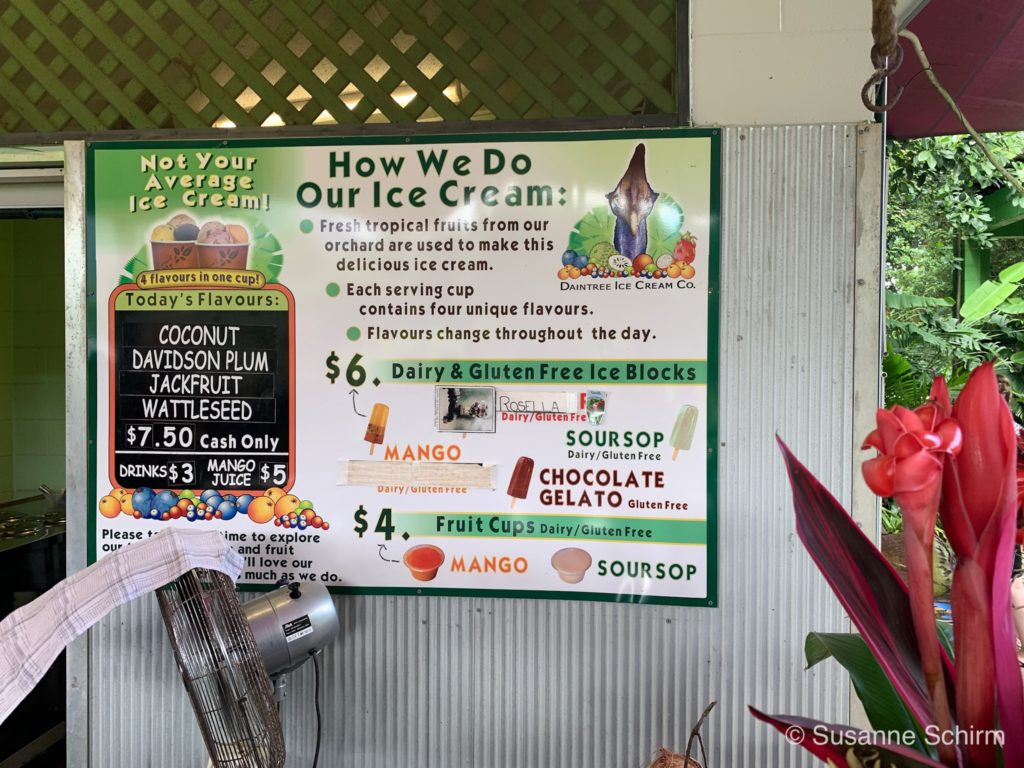 Selbstgemachtes Eis bei der Daintree Ice-cream Company